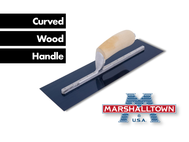 Finishing Trowel Blue Steel┃curved Wood Handle